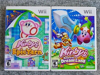 2 games Kirby's Return to Dream Land & Epic Yarn, Nintendo Wii, tested working