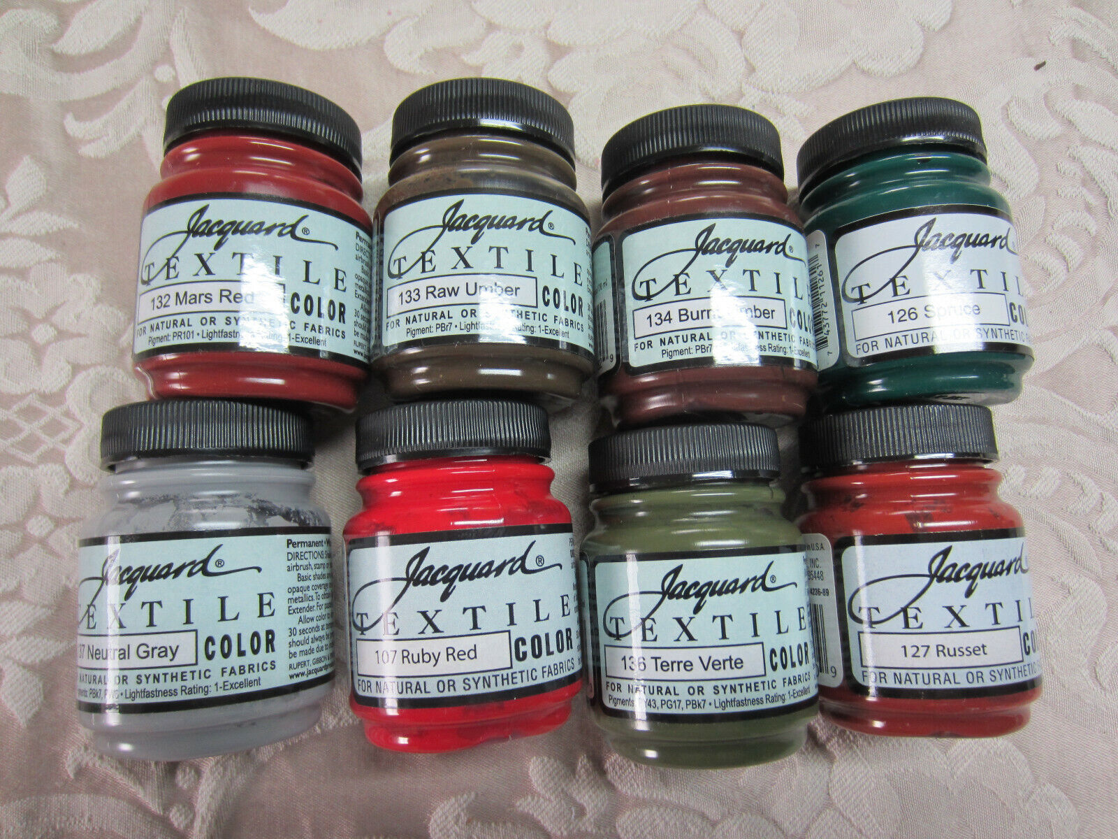 Set of 8 Jacquard Textile Color Artist Acrylic Paint fabric