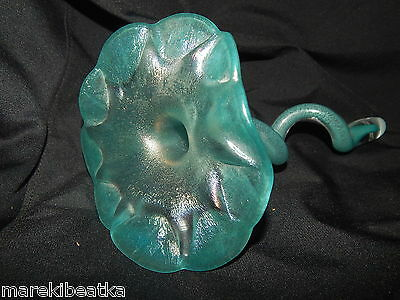 FANTASTIC JOEL BLOOMBERG IRIDESCENT  ART GLASS TURQUOISE BLUE FLOWER, SIGNED