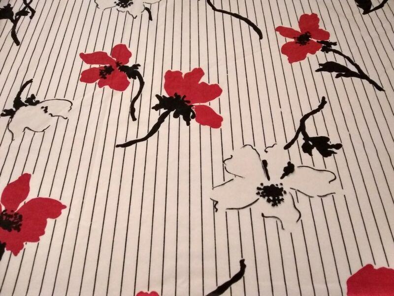 Vtg Bill Blass For Springmaid Queen Sz Flat Sheet  - Red, Black & White Flowers