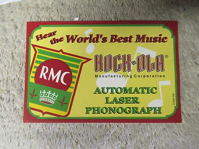 "7 1/8- 4 5/8"" ROCK OLA RMC CARD  yellow   PHONOGRAPH JUKEBOX"
