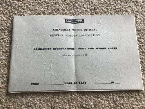 1961  Chevrolet dealership Registrations price and weight class file.