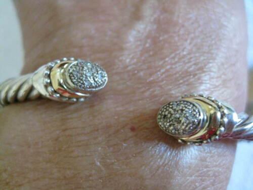 SAMUEL BEHNAN BJC Sterling Silver 18K Gold Diamond Cuff Bracelet