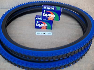 [2] 26'' X 1.95 BLACK & BLUE MOUNTAIN BIKE TIRES  &  [2] TUBES , MTB, TRICYCLE for sale  Shipping to Canada