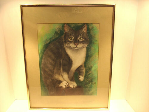 Framed Cat Painting Signed by Artist