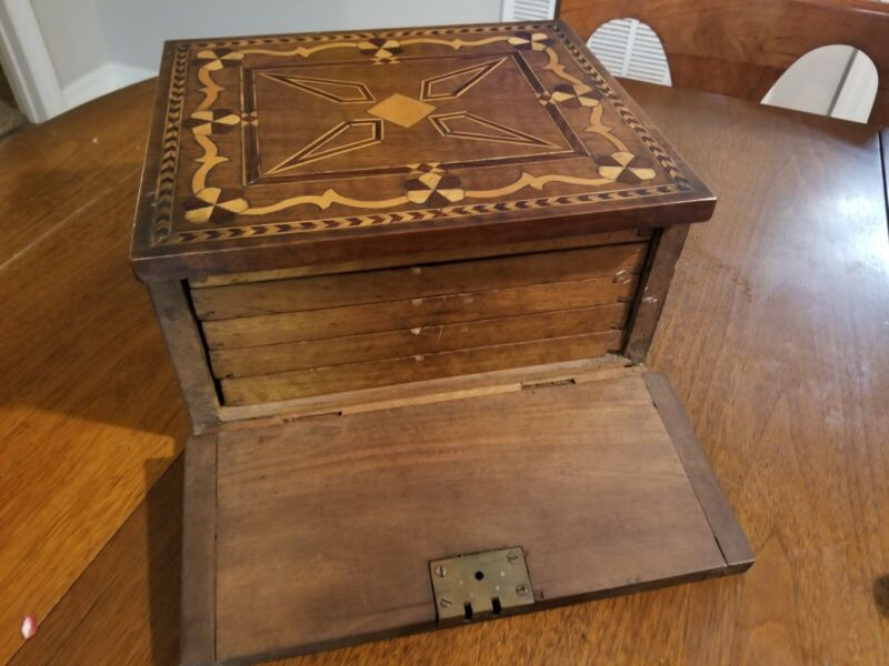 Early American Hand Made Inlaid Wood Box With 5 Partitioned Drawers