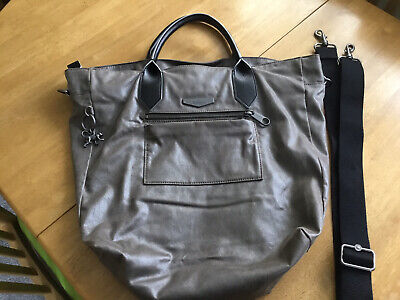 kipling tote shopper bag Sheen Finish With Leather Handles And Trim