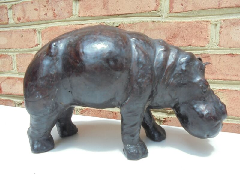 """Vintage Leather Covered Hippo Figure 12"""""""