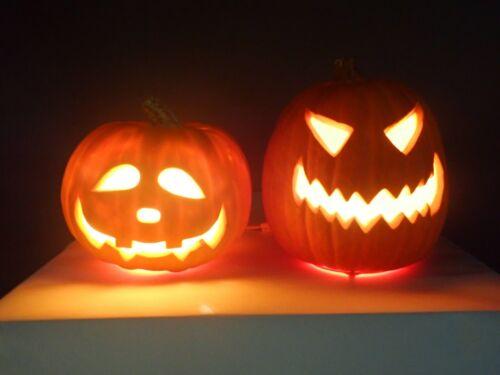 Lot of 2 Blow Mold Halloween Jack-o-Lantern Pumpkin Lights #2 (19181)