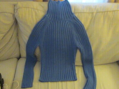 2 ABERCROMBIE & FITCH BLUE THICK HEAVY RIBBED TURTLENECK SWEATER SIZE M + MORE