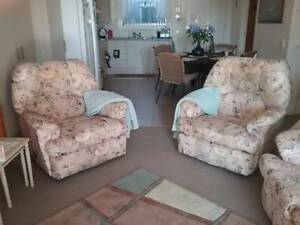 Lounge setting 3 seater ,+ 2 single recliners