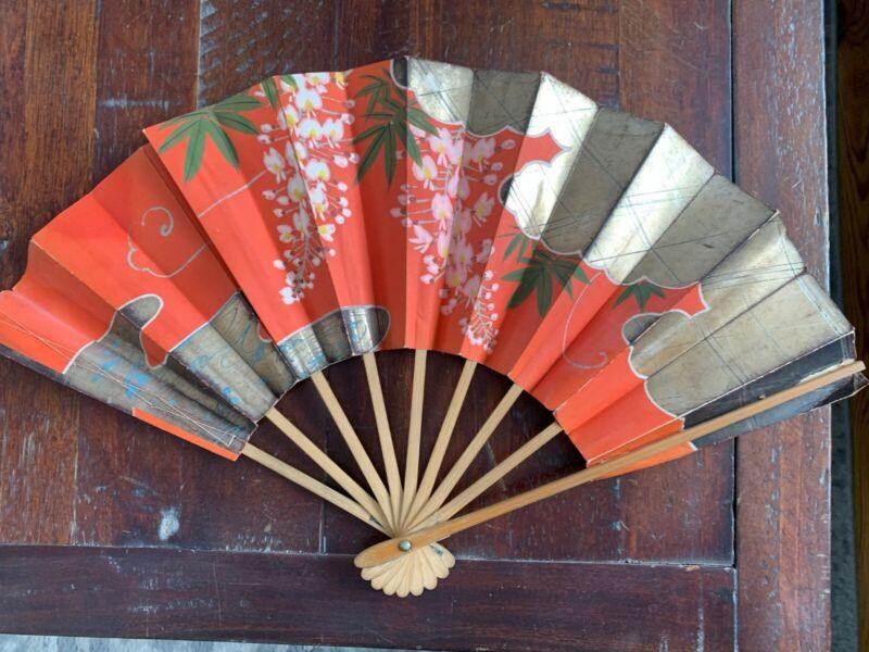 Antique Folding Fan from Formosa, Japan 1945/Signed