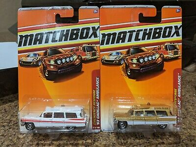 Matchbox lot of 2 diff '63 Cadillac Ambulance red #55  and white #56 MOC