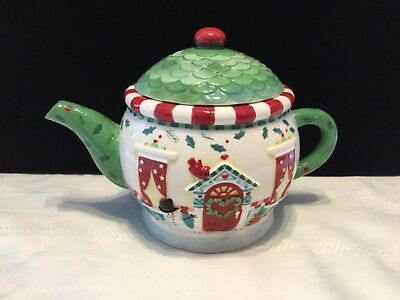 Hallmark Ceramic Christmas House with Snowman  Teapot  by Karla Taylor (L40)