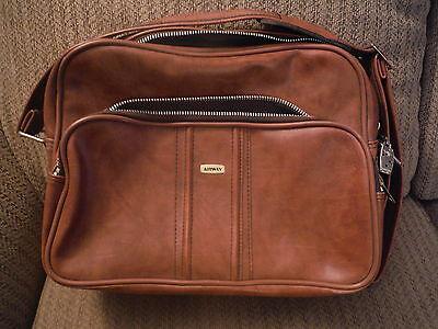VINTAGE Airway Brown Leather Shoulder Bag Suitcase Luggage Toiletry Case - $29.94