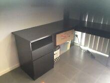 Desk larger corner with filing drawer, cupboard, etc. black. Bracken Ridge Brisbane North East Preview