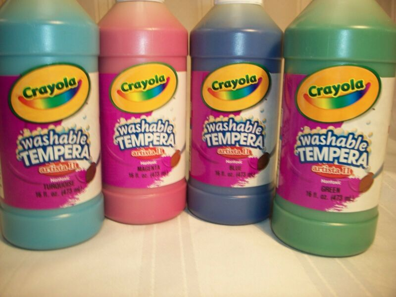 CRAYOLA WASHABLE TEMPURA PAINT, SET OF 4 DIFFERENT COLORS, BY BINNY & SMITH