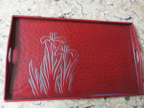 """Vtg Japanese Red Lacquer ware Serving Tray Handles Iris 21x12"""" Textured Lacquer"""