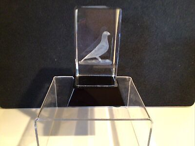 Glass Cube Crystal Paperweight Decorative Design Pigeon