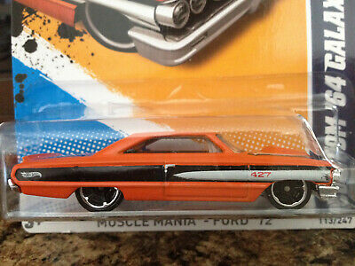 HOT WHEELS 2012-113 MUSCLE MANIA FORD CUSTOM '64 GALAXIE 500 3/10 ORANGE MC/5