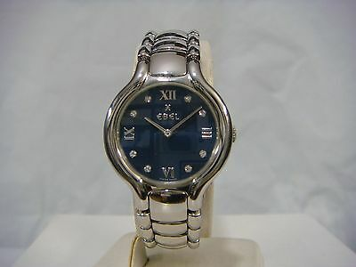 EBEL BELUGA DRESS BLUE MOP DIAL 8 DIAMONDS S.STEEL LADIES WATCH 915421 PRE-OWNED