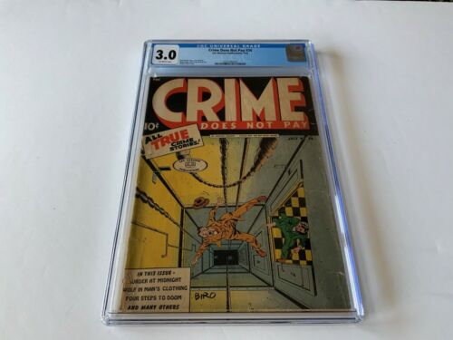 CRIME DOES NOT PAY 34 CGC 3.0 CLASSIC SHOVED DOWN ELEVATOR SHAFT LEV GLEASON