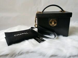 DISCONTINUED Authentic chanel vanity box case black bag