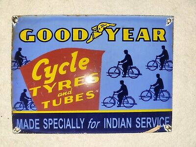 Vintage Goodyear Indian Cycle Tyres Porcelain Sign Indian Motorcycles Harley