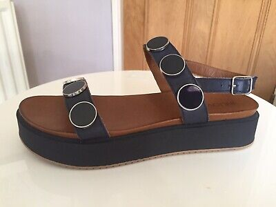 NEW Inuovo Leather Ankle Strap Navy Sandals With Studs, Platform, Size 40 RRP£69