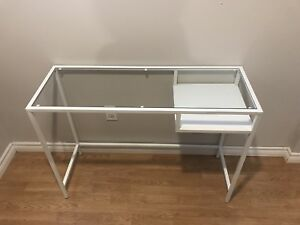 White Glass top desk/laptop table