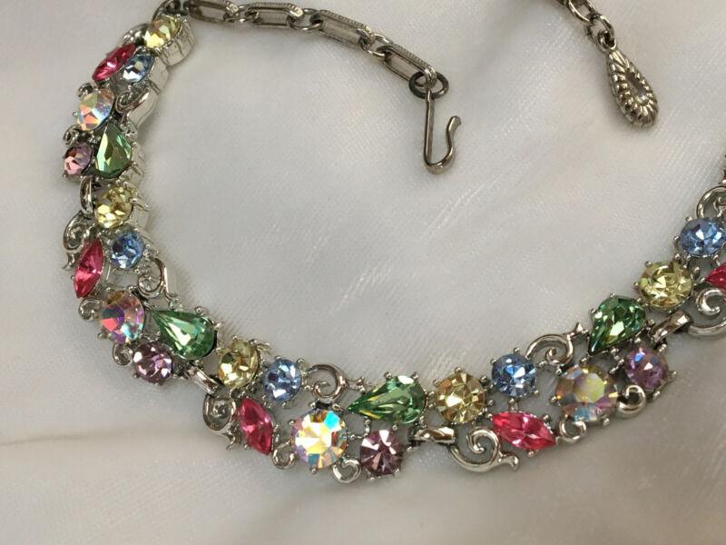 Gorgeous Vintage Signed Lisner Pastel Rhinestone Necklace