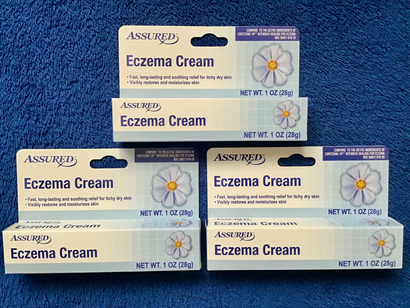 LOT of 3 ASSURED Eczema Cream Fast Soothing Skin Itch Relief