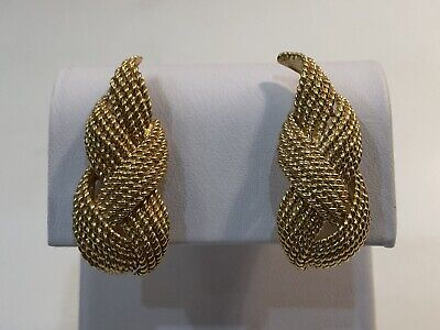 18k Gold Tiffany-Style Large Woven Rope Design  Estate Earrings 18g ()