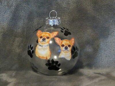 "HAND MADE CHIHUAHUA DOG 3"" GLASS CHRISTMAS ORNAMENT/BALL"