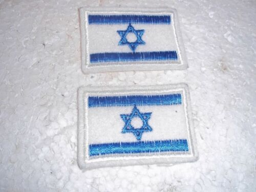 """2 PC LOT ISRAEL FLAG ISRAELI FLAGS PATCHES 2"""" X 1.5"""" EACH"""