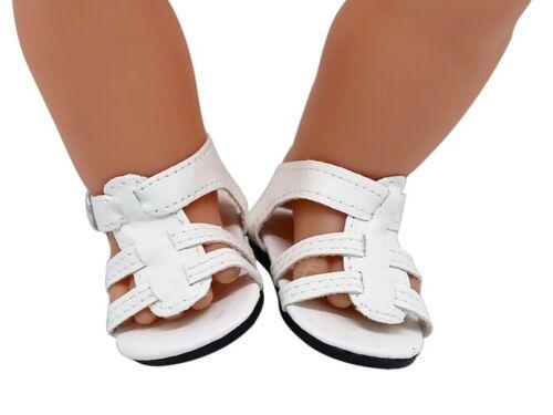 Puppenkleidung, Sandalen, Schuhe, 43 cm, weiss, zb. Baby Born/Sister, NEU