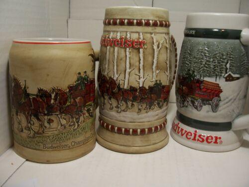 Anheuser Busch Budweiser 1980 & 1981 & 1982 Christmas First 3 Holiday steins