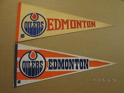 NHL Edmonton Oilers Vintage Lot of 2 1970's & 1980's Logo Hockey Pennants