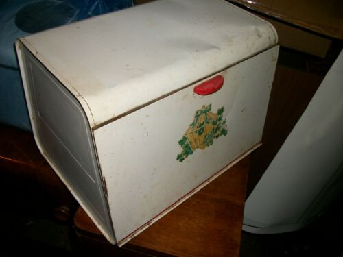 Vintage Tin Metal Pie Safe Bread Box Single Door Red White Flower Farmhouse