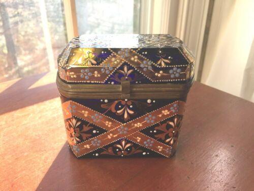 Antique Bohemian Moser Glass Casket Jewelry Box 24K Gold & Enameled design
