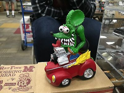 RAT FINK KUSTOM FIGURE ON RED CAR.  NEW IN BOX