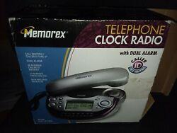 MEMOREX DUAL ALARM CLOCK AM/FM RADIO & TELEPHONE ~CALLER ID~ NEVER USED