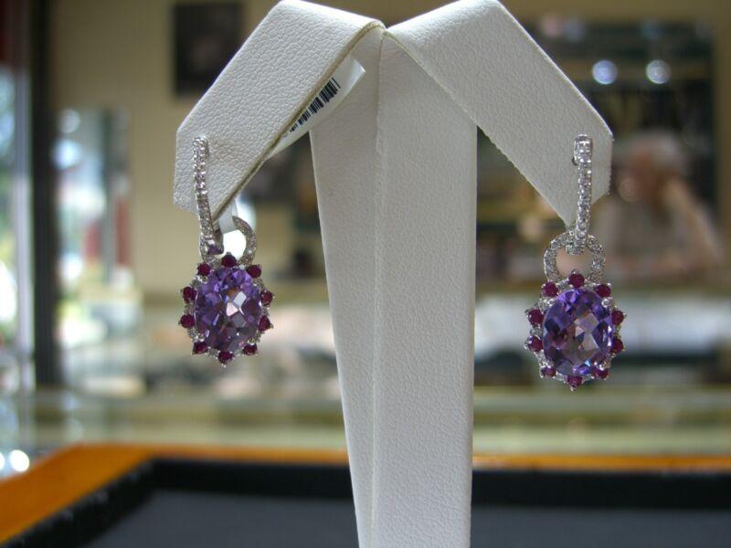 Fine Womens Earrings Diamond,pink Sapphire,amethyst 14 Karat White Gold New Wow