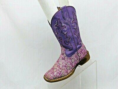 Roper Brand Purple Glittery Floral Cowboy Boots Little Kids Girls Size 11