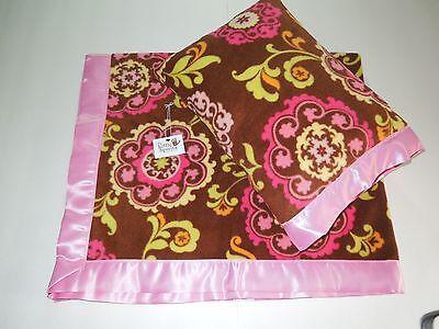 NEW Pink Brown Damask Satin Fleece Childrens Blanket/Pillow Case Baby Gift ()