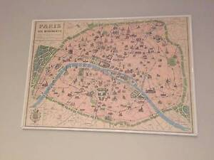 FRAMED VINTAGE MAP OF PARIS (No Glass) Manly Manly Area Preview