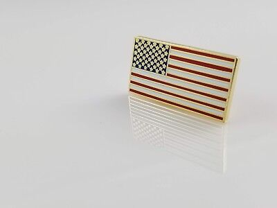 US American Flag Hat Lapel Pin Gold Rectangle 1