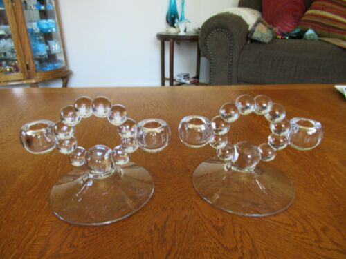 PAIR VINTAGE IMPERIAL CANDLEWICK CANDLE HOLDERS CRYSTAL BALLS KEYHOLE MIDDLE