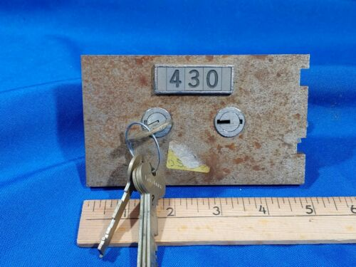 "#430 LeFebure 7700 Safe Deposit Box Lock Key Change w/ Keys 3/8"" Nose VTG"