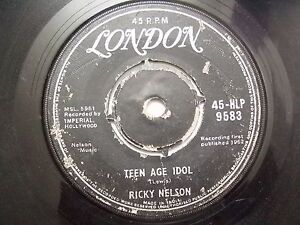 RICKY-NELSON-45-HLP-9583-BROKEN-BLACK-RARE-SINGLE-7-45-RPM-INDIA-INDIAN-VG